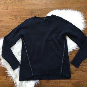 J. Crew Wool Jeweled Navy Sweater
